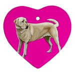 BP Yellow Labrador Retriever Dog Gifts Heart Ornament (Two Sides)