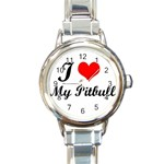 I Love My Pitbull Round Italian Charm Watch
