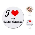 I Love Golden Retriever Playing Cards (Round)