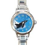 Swimming Dolphin Round Italian Charm Watch