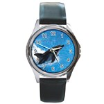 Swimming Dolphin Round Metal Watch