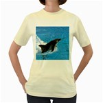 Swimming Dolphin Women s Yellow T-Shirt