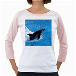 Swimming Dolphin Girly Raglan
