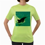 Swimming Dolphin Women s Green T-Shirt