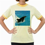 Swimming Dolphin Women s Fitted Ringer T-Shirt