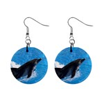 Swimming Dolphin 1  Button Earrings