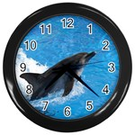 Swimming Dolphin Wall Clock (Black)