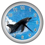 Swimming Dolphin Wall Clock (Silver)