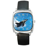 Swimming Dolphin Square Metal Watch