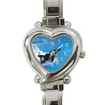 Swimming Dolphin Heart Italian Charm Watch