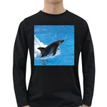 Swimming Dolphin Long Sleeve Dark T-Shirt