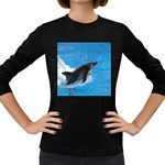 Swimming Dolphin Women s Long Sleeve Dark T-Shirt