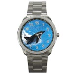 Swimming Dolphin Sport Metal Watch