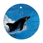 Swimming Dolphin Round Ornament (Two Sides)