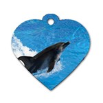 Swimming Dolphin Dog Tag Heart (Two Sides)