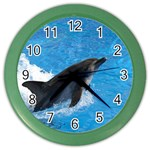 Swimming Dolphin Color Wall Clock