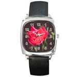 Red flower Square Metal Watch