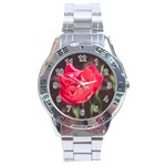 Red flower Stainless Steel Analogue Men's Watch