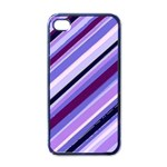 Purple Stripe Apple iPhone 4 Case (Black)
