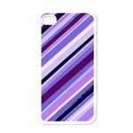 Purple Stripe Apple iPhone 4 Case (White)