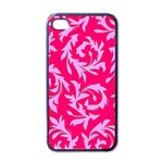 Pink Leaf Apple iPhone 4 Case (Black)