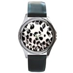 Snow Leopard	 Round Metal Watch