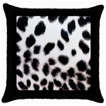 Snow Leopard	 Throw Pillow Case (Black)