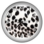 Snow Leopard	 Wall Clock (Silver)