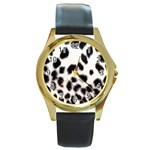 Snow Leopard	 Round Gold Metal Watch