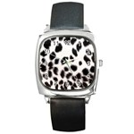 Snow Leopard	 Square Metal Watch