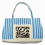 Snow Leopard	 Striped Blue Tote Bag
