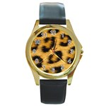 Leopard Print	 Round Gold Metal Watch