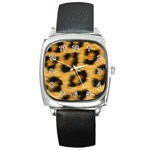 Leopard Print	 Square Metal Watch