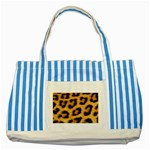 Leopard Print	 Striped Blue Tote Bag