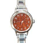 Crocodile Print	 Round Italian Charm Watch
