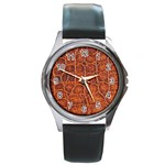 Crocodile Print	 Round Metal Watch