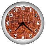 Crocodile Print	 Wall Clock (Silver)