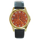 Crocodile Print	 Round Gold Metal Watch