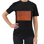 Crocodile Print	 Women s Black T-Shirt (Two Sides)