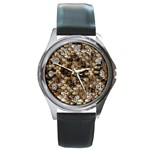 Snake Print	 Round Metal Watch