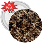 Snake Print	 3  Button (10 pack)