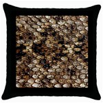 Snake Print	 Throw Pillow Case (Black)