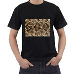 Snake Print	 Black T-Shirt (Two Sides)
