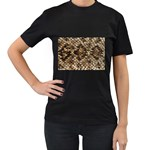 Snake Print	 Women s Black T-Shirt (Two Sides)