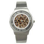 Snake Print	 Stainless Steel Watch