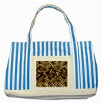 Snake Print	 Striped Blue Tote Bag