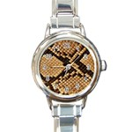 Snake Print Big	 Round Italian Charm Watch
