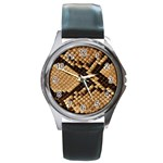 Snake Print Big	 Round Metal Watch