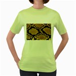 Snake Print Big	 Women s Green T-Shirt