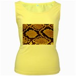 Snake Print Big	 Women s Yellow Tank Top